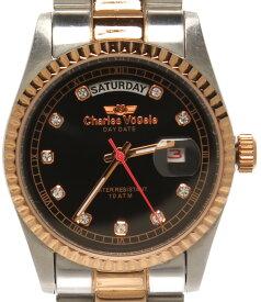 【中古】シャルルホーゲル 腕時計 クオーツ ブラック メンズ Charles Vogele