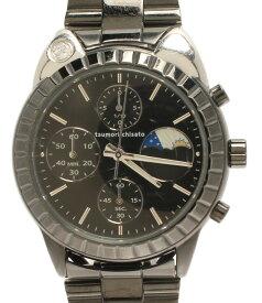 【中古】ツモリチサト 腕時計 こまねきねこ クロノグラフ クオーツ ブラック VD59-D001 レディース tsumori chisato