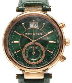 【中古】 マイケルコース 腕時計 クオーツ グリーン MK-2581 メンズ MICHAEL KORS