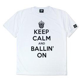 HXB ドライTEE【KEEP CALM】WHITE×BLACK バスケットボール Tシャツ