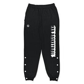 HXB SWEAT PANTS【BEVEL LOGO】BLACK バスケットボール 裾ボタン付き スウェットパンツ