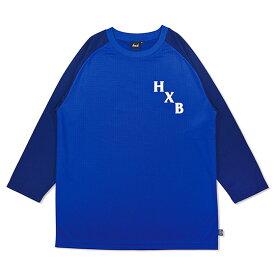 HXB DRY CUTOFF SLEEVE TEE 【XOVER】 BLUE/NAVY バスケットボール 八分袖ドライロンTEE