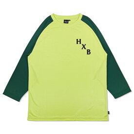 HXB DRY CUTOFF SLEEVE TEE 【XOVER】 LIME/GREEN バスケットボール 八分袖ドライロンTEE
