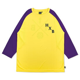 HXB DRY CUTOFF SLEEVE TEE 【XOVER】 YELLOW/PURPLE バスケットボール 八分袖ドライロンTEE