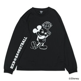 Mickey ミッキー / HXBバスケットボール ロングスリーブTシャツ(ドライ) / ディズニーコレクション / ブラック×ホワイト