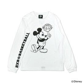 Mickey ミッキー / HXBバスケットボール ロングスリーブTシャツ(ドライ) / ディズニーコレクション / ホワイト×ブラック