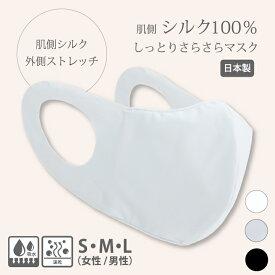 シルクマスク (ストレッチ) 日本製 シルク マスク 肌荒れ しない シルク100% 洗える 保湿 立体 ポケット 秋冬 お休み 就寝用 おすすめ 絹マスク 大きめ 小さめ 布マスク 外出用 UVカット耳が痛くならない 防臭 布製 白 ムレない 美肌 3D