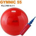 【セットでお得!!】ギムニク55cm ポンプセット バランスボール 55 ヨガボール ギムニクボール ヨガ ピラティス 赤 ダ…