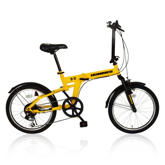 20インチ 折りたたみ自転車 HUMMER(ハマー) FDB20 MG-HM206 6段ギア付き イエロー [直送品]【02P27May16】