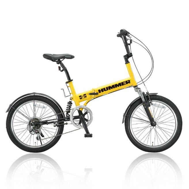 折りたたみ自転車 HUMMER(ハマー) Wサス 20インチ FDB206 W-sus 6段ギア付き イエロー [直送品]【02P27May16】【SS】