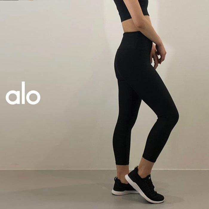 ALO YOGA(アロ ヨガ)レギンス TECH LIFT HIGH-WAIST AIRBRUSH CAPRI  W5630R(Black) 日本未発売 アスレチック ジム トレーニング ランニング ヨガ yoga ピラティス