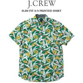 J.CREW (ジェイクルー) SLIM-FIT S/S PRINTED SHIRT プリント半袖シャツ COLLEGIATE GREEN PAPAYA