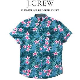 J.CREW (ジェイクルー) SLIM-FIT S/S PRINTED SHIRT プリント半袖シャツ BLUE HIBISCUS