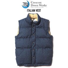 CRESCENT DOWN WORKS (クレセントダウンワークス) ITALIAN VEST ダウンベスト DENIM/KHAKI