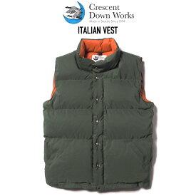CRESCENT DOWN WORKS (クレセントダウンワークス) ITALIAN VEST ダウンベスト OLIVE/RUST