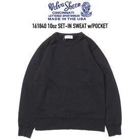 VELVA SHEEN (ベルバシーン) 161840 10oz SET-IN POCKET SWEAT ポケットクルーネックスウェット BLACK