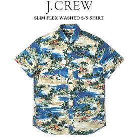 J.CREW (ジェイクルー) SLIM FLEX WASHED S/S SHIRT プリント半袖シャツ SAILING LAGOON