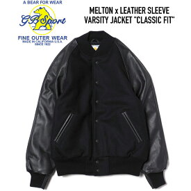 GB SPORT (ジービースポーツ) MELTON x LEATHER SLEEVE VARSITY JACKET CLASSIC FIT スタジャン BLACK/BLACK