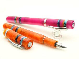 美丽的赛璐珞钢笔橙色黄水晶和粉红色宇宙迷人赛璐珞钢笔 M 罗马字)