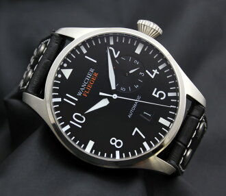 军事机械试点手表军事德国 vlieger 黑色秒、 分钟、 时间、 一天、 一天 7 天) 追求功能的时间