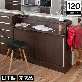 カウンター下 パソコンキャビネット 幅120 木製 幅木避け 可動棚 ブラウン 完成品 日本製