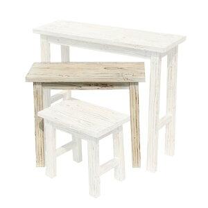 ホワイトネストテーブル 中 中 (YT-6052)花台 ガーデニング テーブル 天然木 庭 園芸 エクステリア アンティーク風 ストテーブル