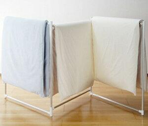 アルミ折りたたみふとん干し W52 洗濯物・省スペース 室内物干し・折り畳み物干し・ものほし 軽い べランダ カバー 大判シーツ タオルケット 毛布 肌掛け布団 滑りにくい キズが目立たない