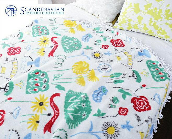 東京西川 Scandinavian Pattern Collection(スカンジナビアン・パターン・コレクション) ラウンドケット Gardens(ガーデン) 北欧 ガーデン柄 草 花