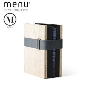 北欧雑貨 menu ブックバインダー スモールサイズ ブックスタンド 本立て オーク ブラック ホワイト ゴムバンド シンプル ナチュラル 北欧デザイン