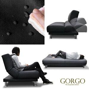 ソファーベッド(シングルサイズ)ソフトレザーで優しい肌触り腰や身体にフィットするポケットコイルと安全性を考えたギアで快適に