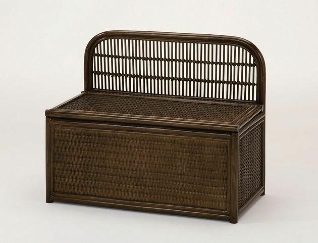 座面を持ち上げれば、中はたっぷりの収納スペース ベンチボックス イス・チェア 座椅子 籐製 送料無料 最安値に挑戦 新生活 引越