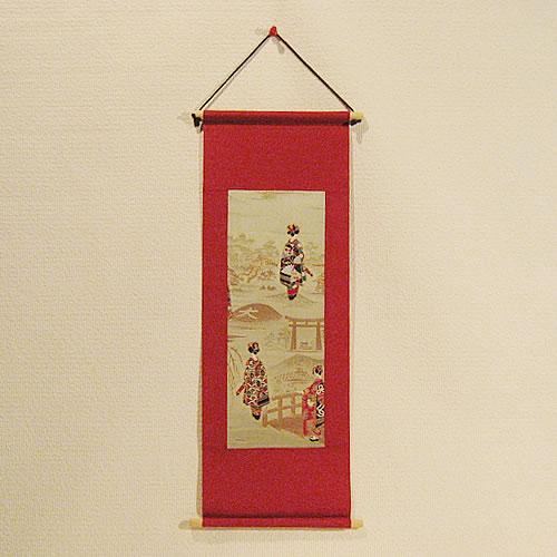 京都のお土産 和風雑貨 贈り物京錦織(西陣織)の壁掛け(タペストリー)舞妓さん 大文字山