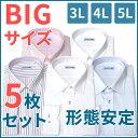 【大きいサイズ5枚セット】形態安定 長袖ワイシャツ メンズ シャツ 形態安定加工 長袖 ワイシャツ 長袖シャツ 大きいサイズ ノンアイロン 形状記憶 ノーアイロン Yシャツ 3L カッターシャツ 4L