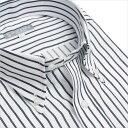 ワイシャツ ヒューズ ビジネス ネイビー ストライプ