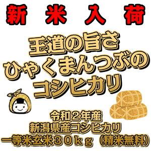 【新米入荷】令和2年産 新潟県産 コシヒカリ 一等米 玄米30kg (精米無料)百萬粒 ひゃくまんつぶ 送料無料 こしひかり