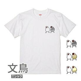 文鳥 Tシャツ かしげるブラザーズ 243 小鳥 鳥 鳥好き 雑貨 イラスト アニマル かわいい グッズ ぶんちょう buncho プレゼント ギフト 白 桜 シルバー シナモン クリーム おもしろい 面白い 大きいサイズ ビッグT アメコミ メール便 癒やし