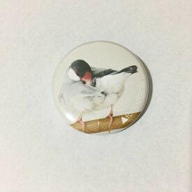 文鳥 グッズ torinotorio 「ぶんこバッジ シルバー文鳥バッジ (おしり:ベージュ)」 38mm 文鳥 グッズ ブンチョウ ぶんちょう buncho プレゼント