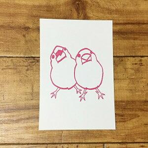 文鳥 ポストカード torinotorio よりそう白文鳥 お口パカー ピンク はがき ハガキ 葉書 年賀状 暑中お見舞 暑中見舞い 挨拶状 引っ越しの挨拶 季節のあいさつ 鳥 小鳥 ことり 雑貨 おしゃれ グッ