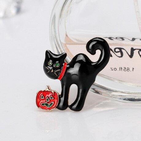 ハロウィン 猫 ブローチ