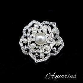 淡水パール と CZダイアモンド の お花 ブローチ ミニ サイズ