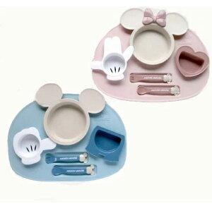 ディズニー 食器セット ミッキーマウス ベビー食器セット 出産祝い お食事セット 電子レンジ使用可 赤ちゃん 離乳食 女の子 男の子 ポリプロピレン スモークトーン ワンプレート