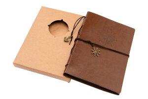 【送料無料】LS Hyindoor 手作りアルバム 写真集 DIYスクラップブック 皮革製 ルーズリーフ式台紙30枚 復古風コンパス