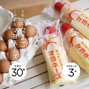 【送料無料】【クーポンで20%OFF 】【産地直送】カンナンファームの卵&マヨセット[やまぶき卵 10個入×3パック(30個入)+カンナンファームのマヨネーズ【添加物不使用】3個セット]【丹波