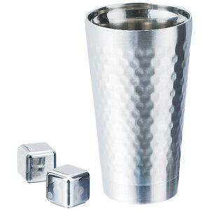 二重タンブラー&アイスキューブ2個 4152-052 FC-3003A 7989550 Y_KO_ap 氷の代用品として使えるステンレス製アイスキューブ ●冷凍庫で冷やして使用 約200mlの液体に2〜3個で20分〜30分程度の保冷
