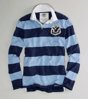 ★ 120% regular ♦ American Eagle striped Rugby polo shirt / long sleeve Sun ♦ chopper blue ♦ 0175-7959-766 ♦ AE STRIPED PATCH RUGBY AMERICAN EAGLE