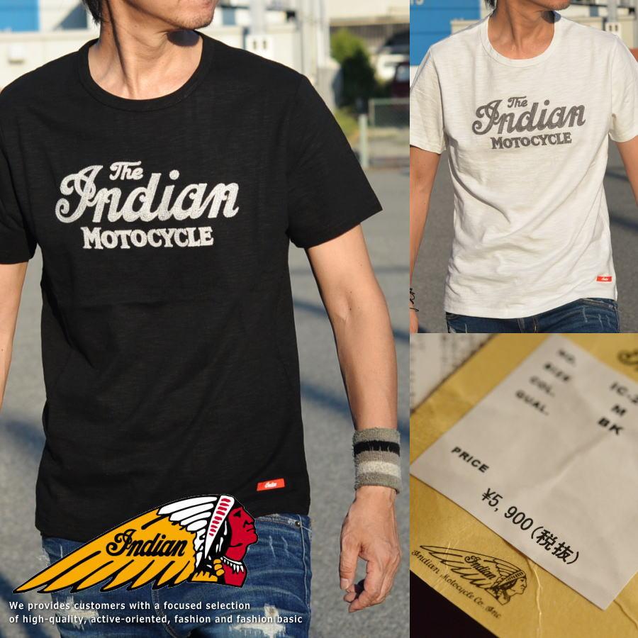 Indian Motocycle インディアンモトサイクル Tシャツ メンズ 半袖 刺繍 Vintage IC-2400■02170827