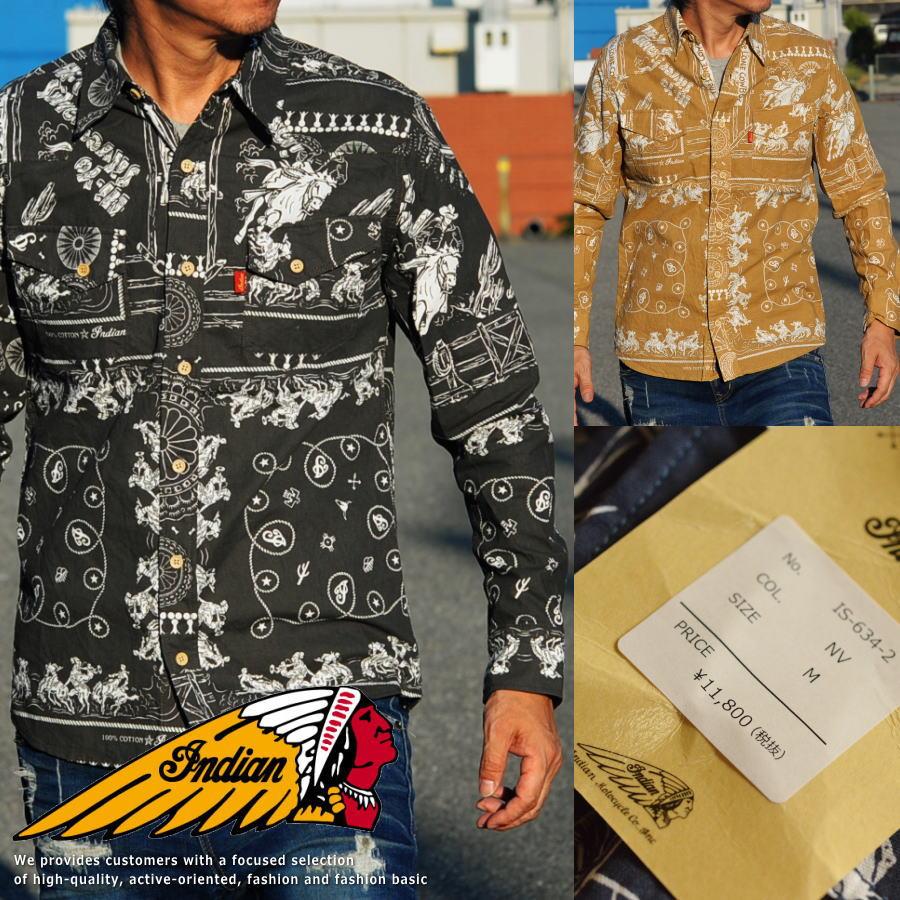 Indian Motocycle インディアンモトサイクル 長袖 ウエスタンシャツ メンズ IS-634 バンダナ パッチワーク■02170827