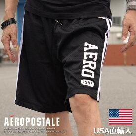 正規 エアロポステール ショートパンツ メンズ ショーツ ジャージ 半パン 正規品 ハーフパンツ AEROPOSTALE 6815-9568-001 ブラック
