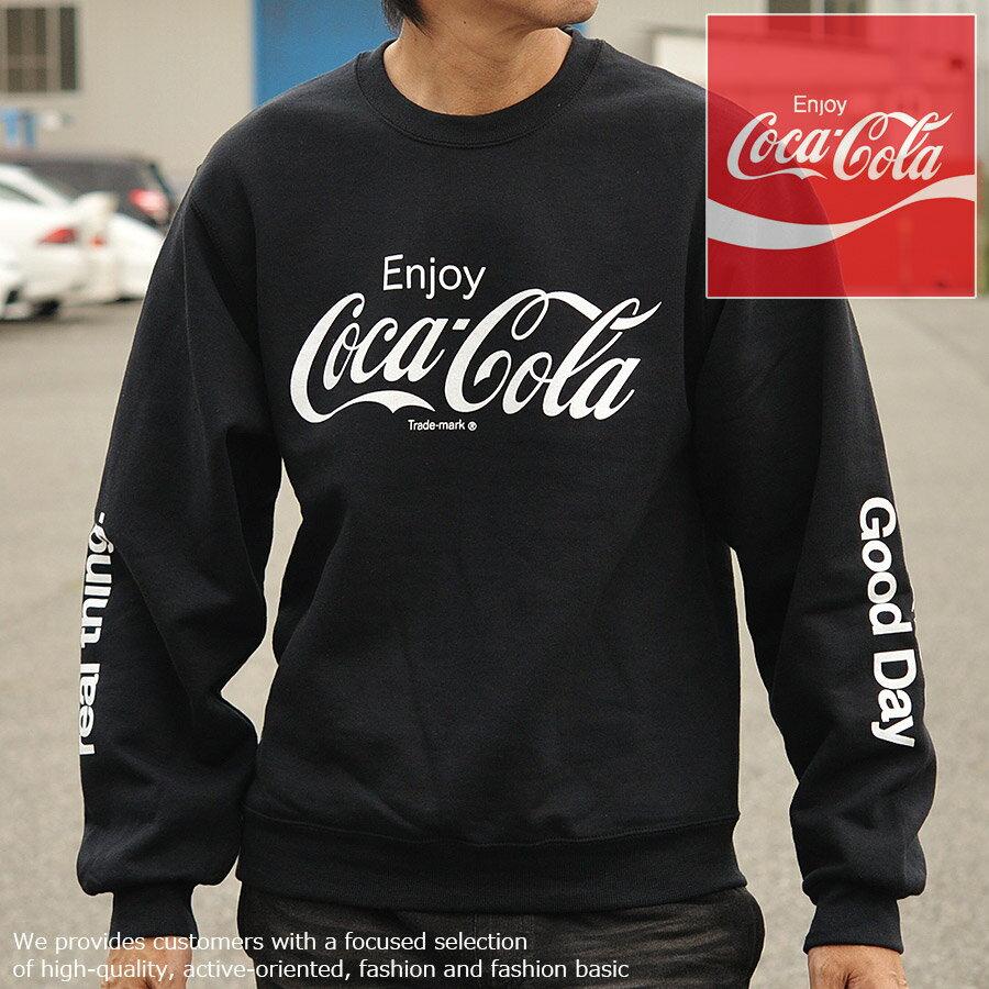 コラボ商品 コカ・コーラ FRUIT OF THE LOOM トレーナー メンズ 長袖 フリース 923-540CC28 ブラック■05171011
