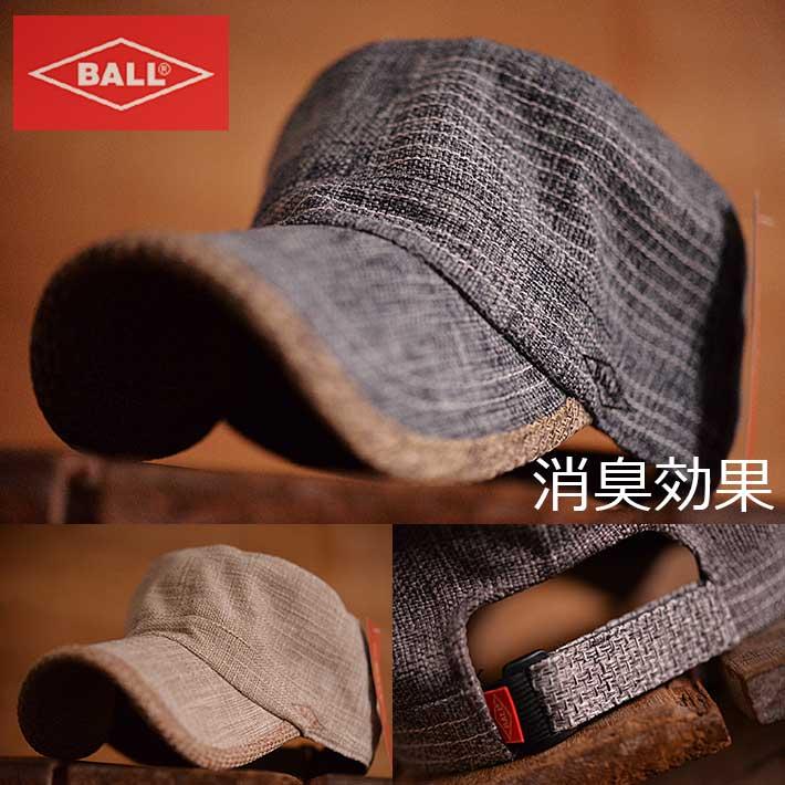 BALL ボール 消臭効果 ワークキャップ キャップ 帽子 メンズ ジュートライク 麻 DS376■180404
